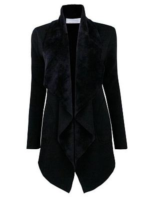 Lapel Patchwork Plain Outerwear
