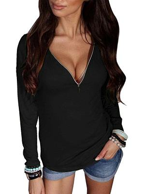 Deep V Neck Zips Plain Shirt