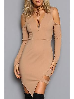 Deep V Neck Asymmetric Hem Plain Fitted Bodycon Dress