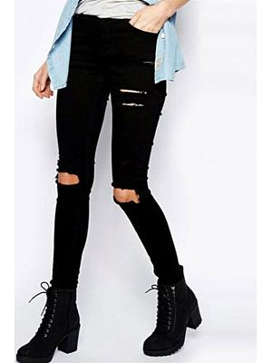 Black Broken Holes Hollow Out Sheath Jeans