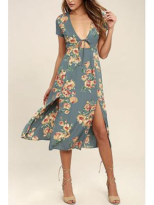 Deep V Neck Printed Short Sleeve Floral Dresses