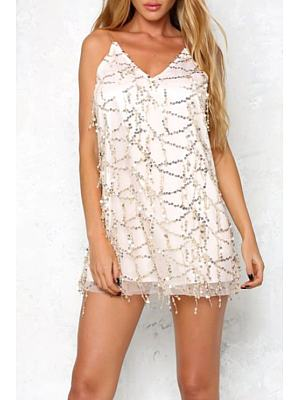Spaghetti Strap Beading Party Dress
