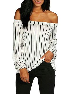 Off Shoulder Stripes Long Sleeve Shirt
