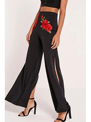Side Slit Embroidery Long Wide Leg Pants