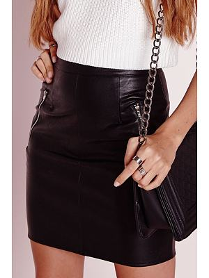 Leather Zips A Line Skirt