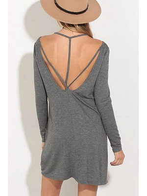 Backless Plain Shift Long Sleeve Casual Dresses