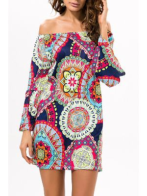Blue Exotic Off Shoulder Printed Casual Dress