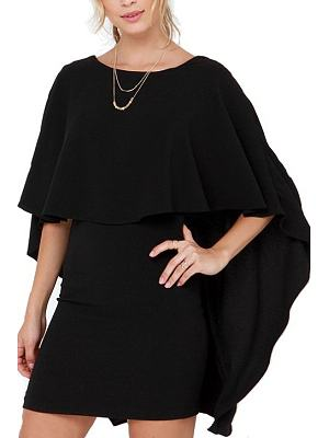 Cape Round Neck Zips Fitted Backless Dress