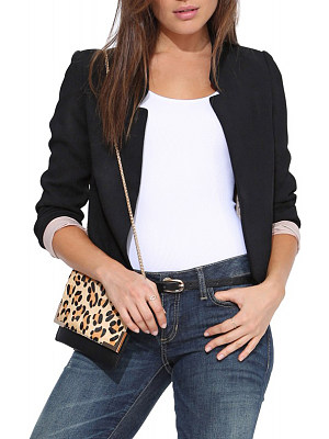 Narrow Notch Lapel Patchwork Plain Blazer