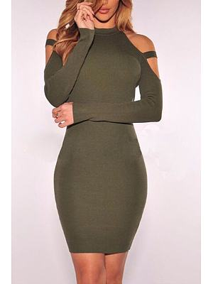 Knit Open Shoulder Plain Sheath Bodycon Dress