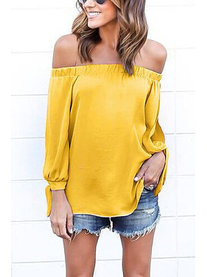 Off Shoulder Smocked Bodice T-shirts