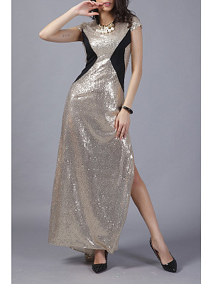 High Slit Glitter Patchwork Maxi Dress