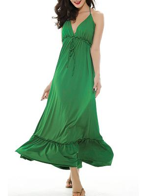 Halter Ruffle Trim Empire Line Maxi Dress