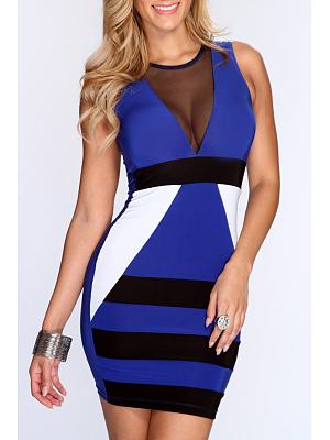 Blue Mesh See Through Assorted Colors Club Dress