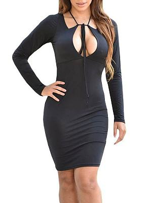 Asymmetric Neck Lace Up Plain Bodycon Dress