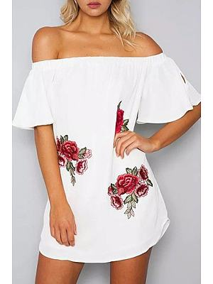 Off Shoulder Bell Sleeve Embroidery Strapless Dress