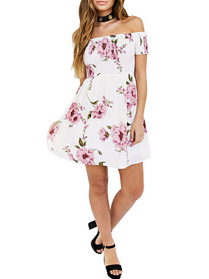 Off Shoulder Elastic Waist Printed Flared Floral Dresses