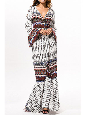 Surplice High Slit Print Maxi Dress