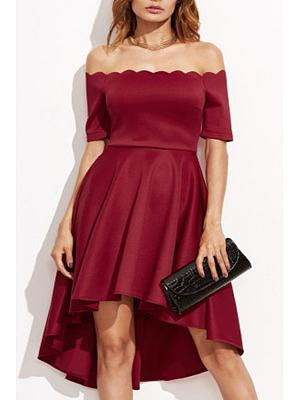 Off Shoulder Asymmetric Hem Party Dress