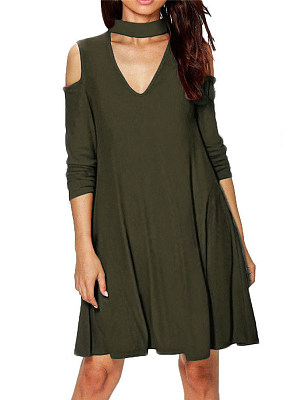 Army Green High Neck Plain Oversized Casual Dress
