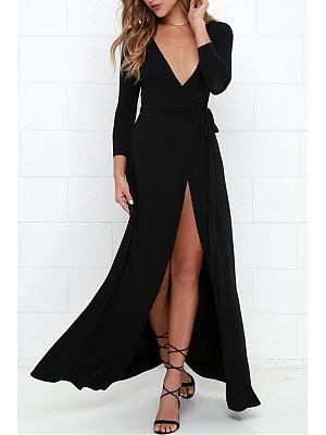Knit Deep V Neck High Slit Plain Maxi Dress