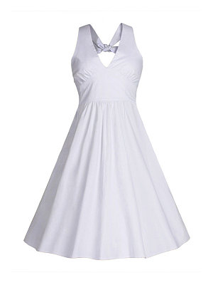 Halter Plain Flared Skater Dress