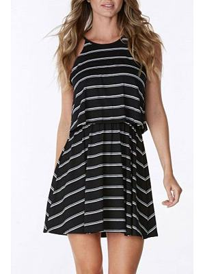 Halter Patchwork Stripes Casual Dress