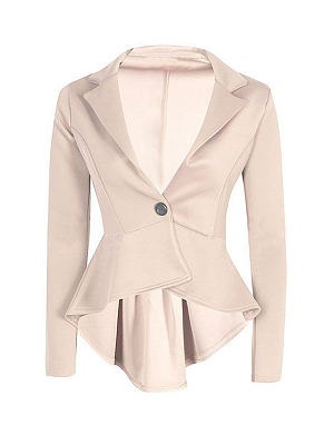 Beige Single Button Blazer With Irregular Hem