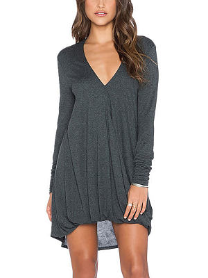 Plunging Neck Long Sleeves Asymmetrical Dress