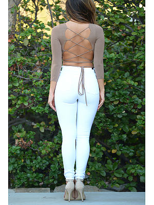Khaki Lace-Up Back Crop Top