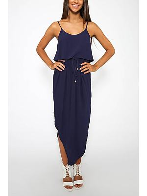Navy Drawstring Waist Irregular Hem Cami Dress