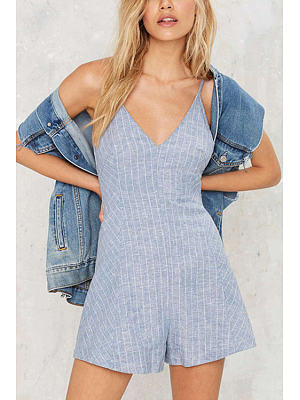 V-neck Sleeveless Stripe Pattern Playsuit