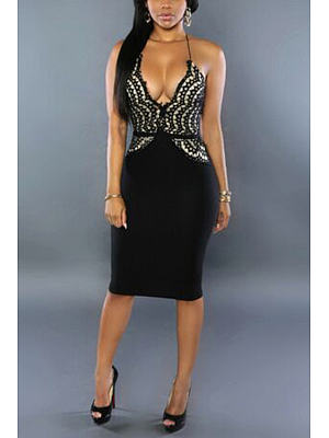 Black Sexy Lace V-neck Body-con Dress With Cami Strap