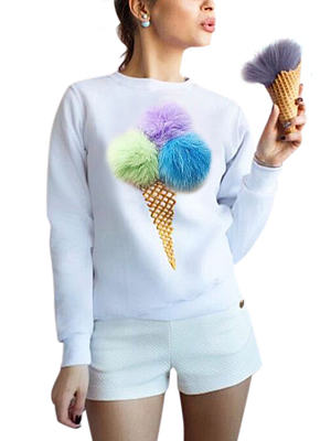 White LOng Sleeves Round Neck Sweatshirt With Pom Pom Details