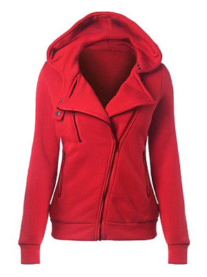 Red Casual Hoodie With Irregular Zipper