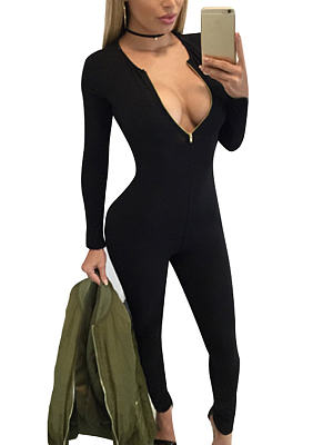 Black Zip Front V-neck Long Sleeves Bodycon Jumpsuit