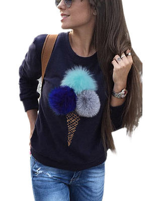 Navy Round Neck Sweatshirt With Pom Pom Details